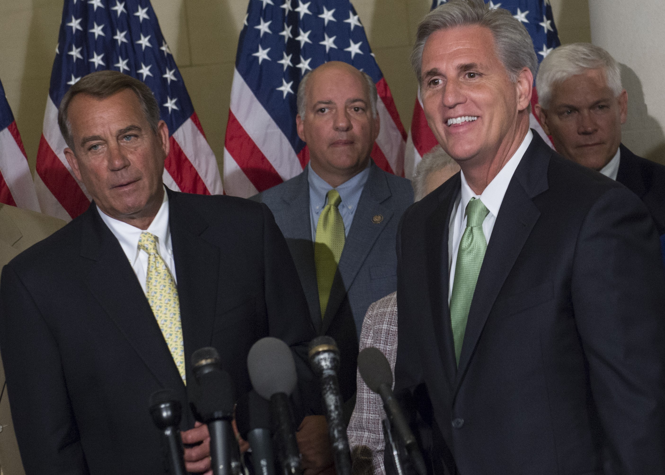 Newly elected House Republican Majority Leader Kevin McCarthy (R) and Speaker of the House John Boehner (L), hold a press conference following Republican leadership elections on Capitol Hill in Washington, DC, June 19, 2014. The Republican primary election loss by outgoing House Majority Leader Eric Cantor sparked an unexpected Republican leadership shift. AFP PHOTO / Saul LOEB        (Photo credit should read SAUL LOEB/AFP/Getty Images)