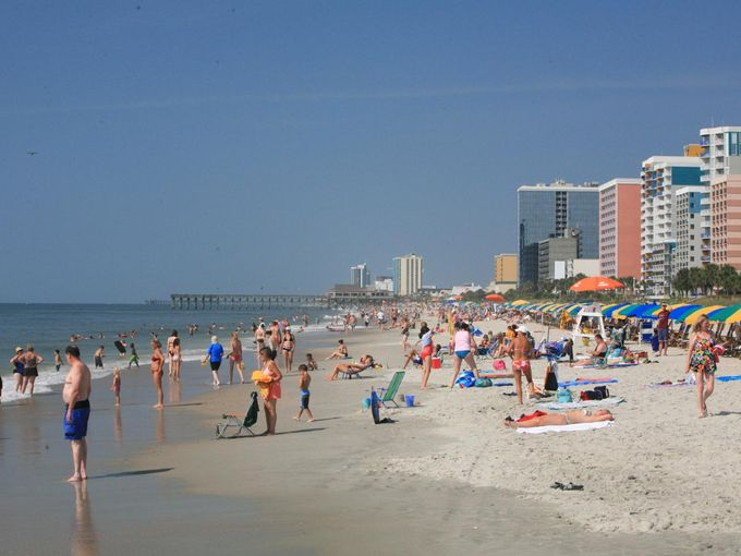 In 2010 Myrtle Beach finished construction of a 1.2-mile boardwalk stringing together clusters of commercial activity and providing a backdrop for the beach.