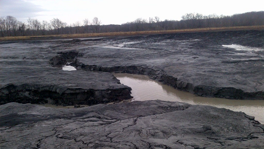 This handout photo from Duke Energy shows a coal ash pond that was the site of a spill into the Dan River in Rockingham County, North Carolina.