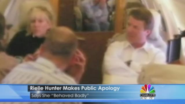 """Rielle Hunter is apologizing for her affair with former Democratic presidential candidate John Edwards. In a column for the Huffington Post, the mother of Edwards' youngest daughter says she """"behaved badly."""""""