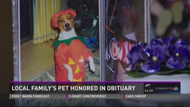 Local family's pet honored in obituary
