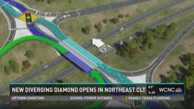 New diverging diamond opens in NE Charlotte