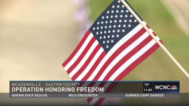American flags honor veterans on July Fourth in McAdenville
