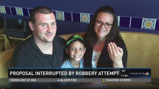 Proposal interrupted by robbery attempt