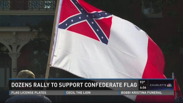 Dozens rally in Monroe to support Confederate Flag