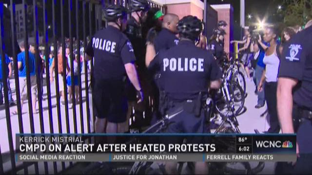 CMPD on alert after heated protests
