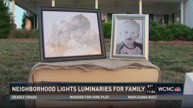 Neighborhood places hundreds of luminaries in honor of Eddings boys