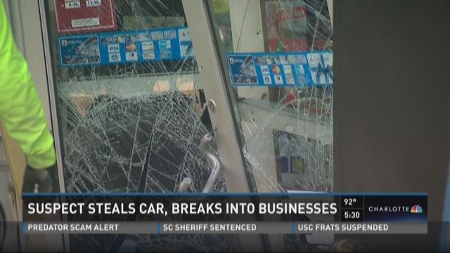Suspect steals car, breaks into businesses