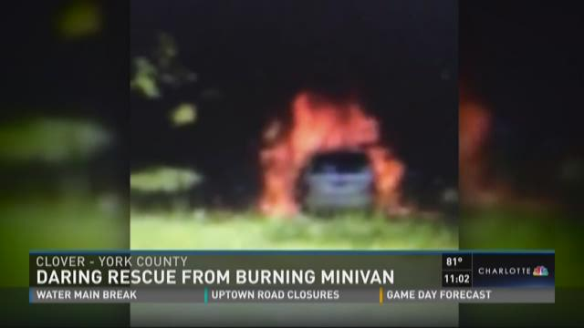 Daring rescue from burning minivan