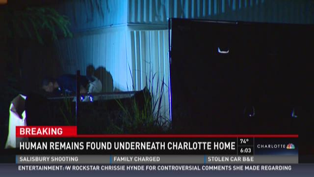 Police find human remains underneath east Charlotte home