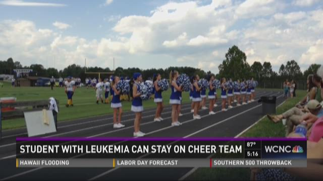 Student with Leukemia can stay on cheer team