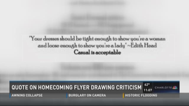 Quote on Homecoming flyer drawing criticism