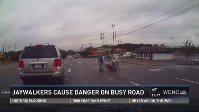 Jaywalkers cause danger on busy road