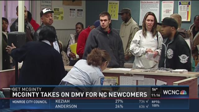 McGinty takes on DMV for NC newcomers