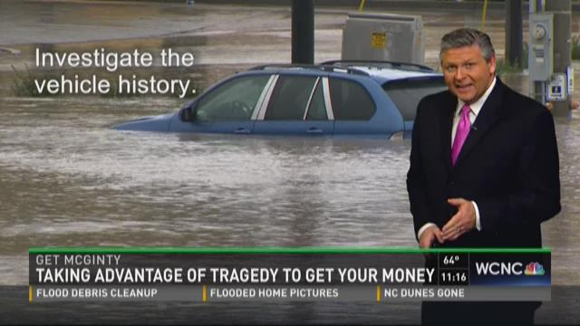 Don't get scammed by fake charities or flood vehicles
