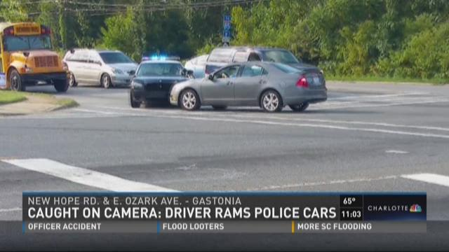 Caught on Camera: Driver rams police cars