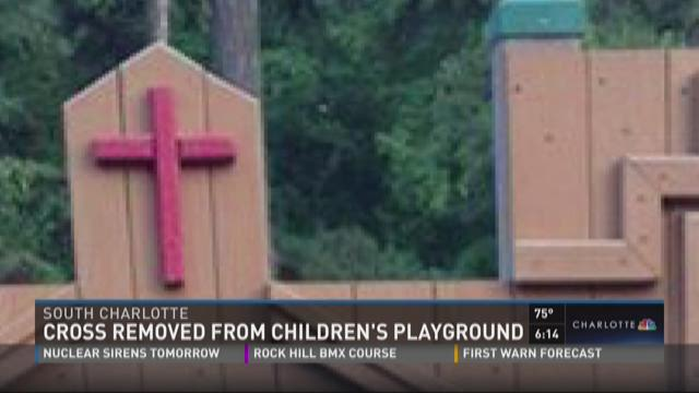 Cross removed from children's playground