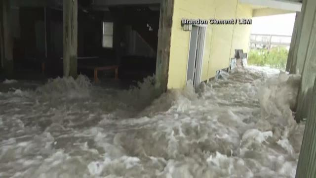 Severe flooding along the coast of the Carolinas as Hurricane Florence makes landfall